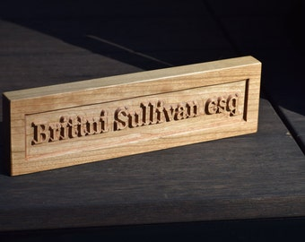 Handcrafted Wooden Desk Nameplate - Personalized - Cherry