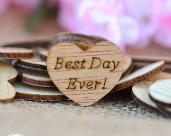 "100 Best Day Ever! Wooden Hearts 1"" - Rustic Wedding Decor - Table Confetti - Wedding Invitations"
