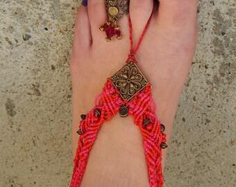 Barefoot red macrame and fuschia