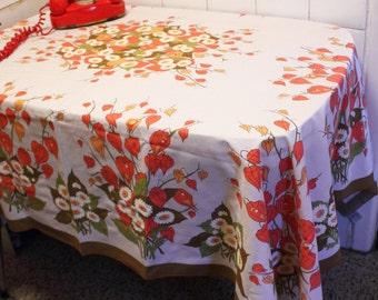 70s Daisy Flowers Rectangular Table Cloth   White Orange Red Yellow  Tablecloth   Rectangular Table Cover