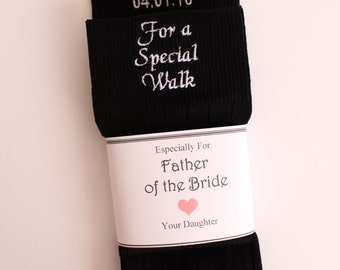 Father of the Bride socks, tan, navy, Special Socks for a Special Walk, custom date Wedding Socks,Father of the Bride Gift, F23LB8