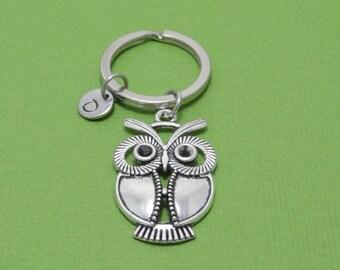 Personalized Owl Keychain, Bird Keychain, Owl Lover Keychain, Animal, Pet, Customized, Engraved, Monogram, Initial Keychain, Owl Lover Gift