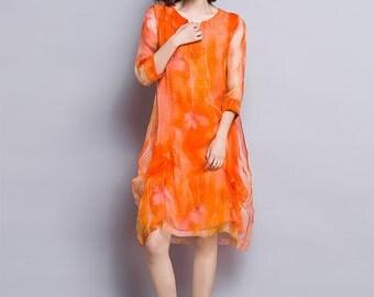 Shanshui - Orange chiffon dress, midi printed dress, loose robe, summer dress, large size available