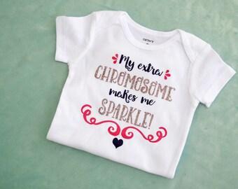 Extra Chromosome bodysuit- Down Syndrome baby- Down Syndrome shirt- Down Syndrome gift- Down Syndrome girl  xz