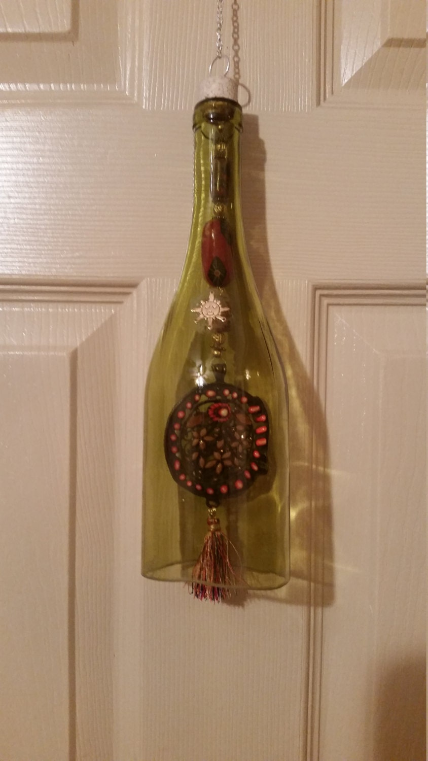 recycled green wine bottle wind chime