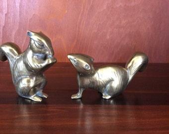 Vintage Brass Squirrel Pair