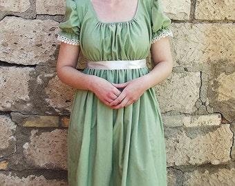 Regency Era Sage Green Long Dress, Gown