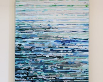 Summer Storm Painting. Original Abstract Acrylic Painting. Blue, silver and grey Painting. Modern Art, Small/Medium Canvas