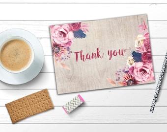 Thank you card Floral thank you card Boho Thank you card Bohemian thank you card Rustic thank you card Pink thank you card Instant download