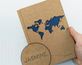 TRAVEL Notebook, PERSONALIZED Journal, WORLD Map Journal, Travel Journal, Custom Journal, Custom Notebook, Custom Name Notebook, Unique Gift