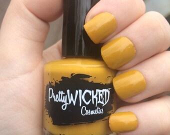 Mustard Yellow Nail Polish, Gretel Polish, Muted Yellow Nail Polish, Creme Nail Polish