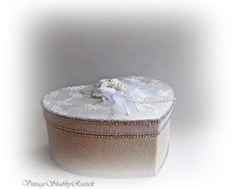 Wedding Card Box Heart Card Box Ivory Wedding Card Holder Box Money Holder Box Wishes Box  Personalized Wedding Gift Bridal Shower Gift