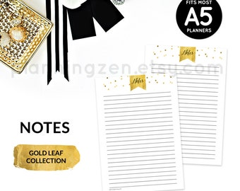 Printable A5 Planner Inserts Notes | Digital Planner Inserts | Printable Daily Planner | Time Planner
