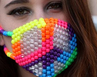 PLUR Peace LED Kandi Mask