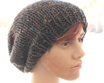 Multicolored Knitted Slouchy Beanie Hat