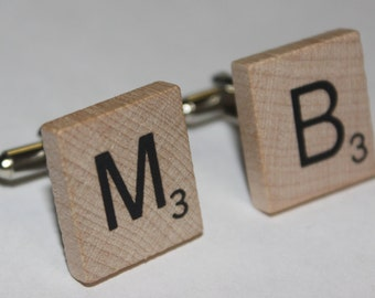 Scrabble Tile Cufflinks, Personalized and Custom Monogram