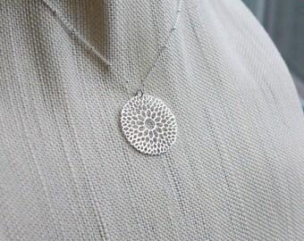 Mandala Pendant Necklace, Silver Flower Pendant, Sterling Satellite Chain, Dahlia Necklace, Simple Minimal Silver Necklace, Geometric
