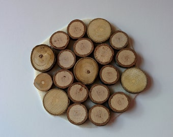 20 Small Wood Branch Discs