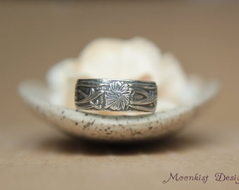 Size 6 - Art Nouveau Flower and Vine Wedding Band in Sterling - Silver Vintage-style Wedding Band - Wide Floral Band - Ready to Ship
