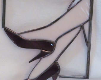 purple high heels,  sassy, fun, friend, co-worker, shoe-lover, glass, sun catcher,HappyGlass06,
