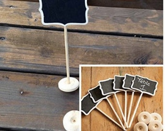 Set of 12 - Mini, Handmade, Customized Wedding Chalkboard Table Numbers