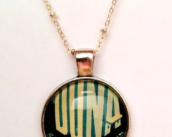 Vintage Budapest Travel Poster Necklace, Bronze or Silver