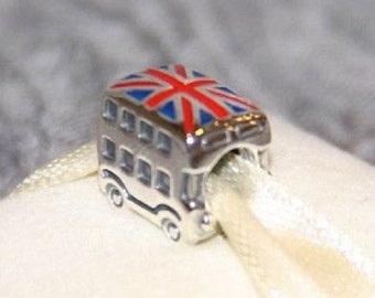 Genuine UNION JACK LONDON Bus > s925 silver charms / New / Threaded / Stamped