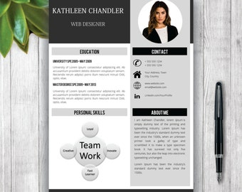 Professional Resume Template With Photo + Cover Letter / CV Template Word,  CV Design,