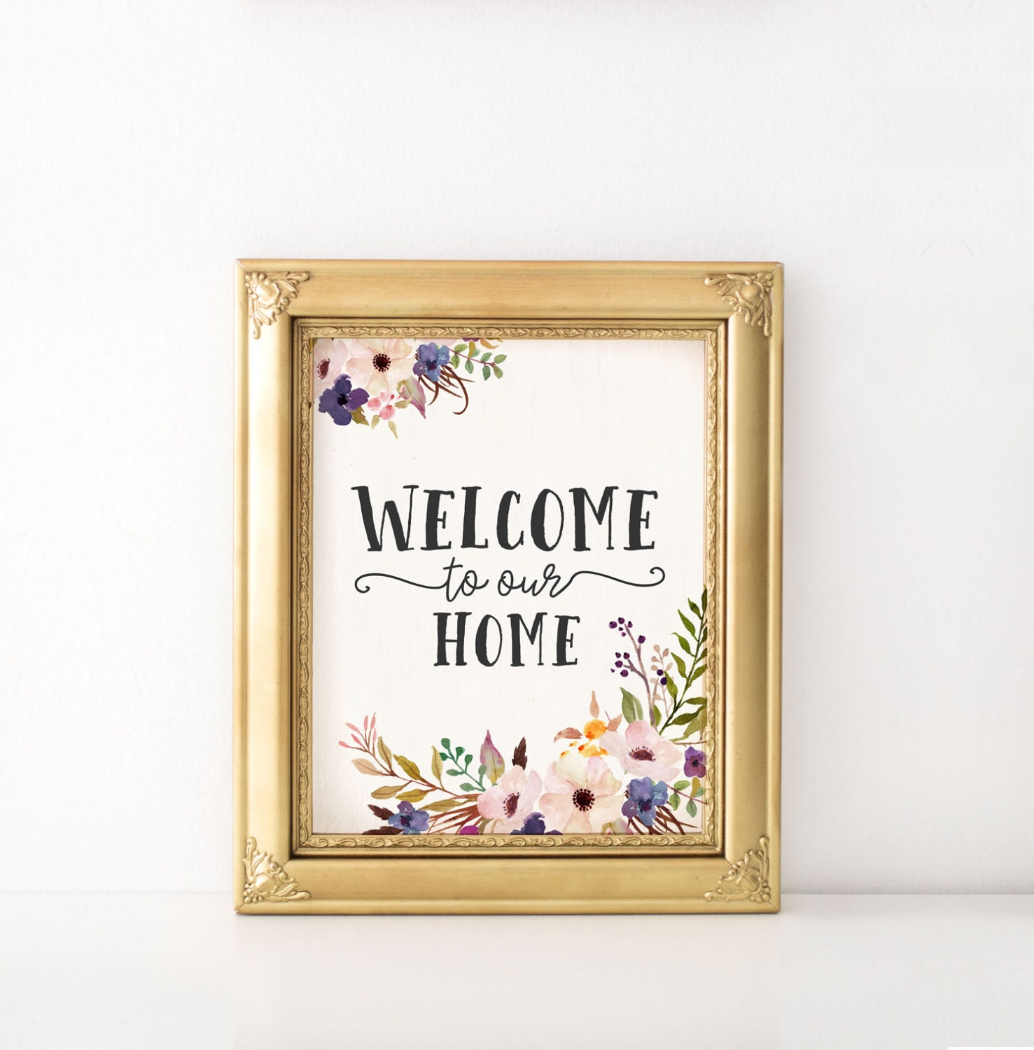 Welcome To Our Home: Welcome To Our Home Print Welcome Sign Art By KiwiNberries