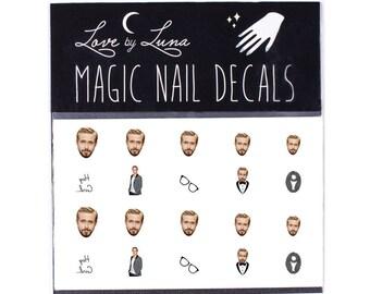 Ryan Gosling Nail Decals / Ryan Gosling Nails / Ryan Gosling Nail Wraps / Hipster Nail Decals / Celebrity Nail Decals / Nerd Nail Decals