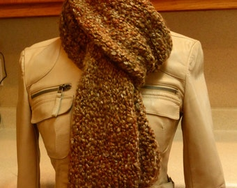 Handmade knit straight chunky scarf in intermingled shades of brown.  Free domestic USPS priority shipping!!