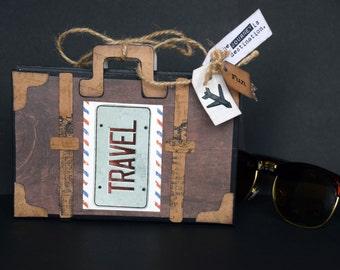 Travel Suitcase Scrapbook Album, Travel Journal, Handmade Travel journal with pockets, Vintage Adventure Album, Vacation Album, Wanderlust
