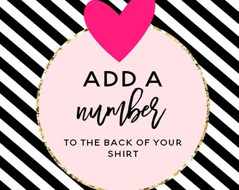 Add on, add any number to the back of shirt order