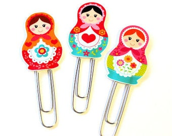 Planner Clips Matryoshka Russian Nesting Dolls Paper Clip Laminated Planner Clip for use with Erin Condren Life Planner FiloFax Accessories