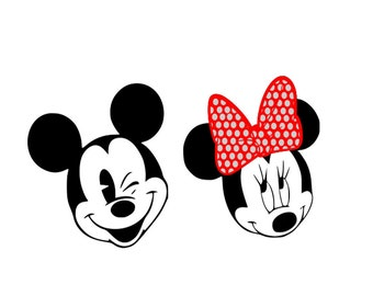 Minnie and Mickey SVG Dxf Eps Png For Silhouette Studio and Cricut Design Space cutting machines. Instant Download