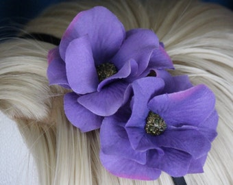 FabuStyle Purple Layered Silk Flower Fascinator Headband with Bead Centers