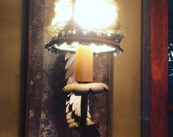 Craft Wall lamp in iron and wood