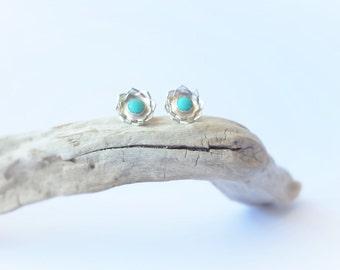 Turquoise Earrings Turquoise Jewelry Boho Earrings Silver Earrings Bohemian Jewelry Sterling Silver Blue Earrings Turquoise Studs December