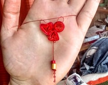 Quilled Necklace, Red, Heart Shaped, Dangling Beads
