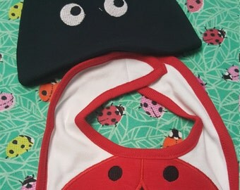 Ladybug infant bib and hat set.  So adorable!!!   0 - 6 months.  applique with embroidery.    You can also add name under the eyes.