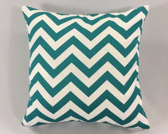 Turquoise Chevron Pillow Cover - Zig Zag True Turquoise Print - Pillow Cover - Chevron Accent Pillow - Hidden Zipper-Custom Sizes