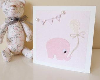 Pink Felt Elephant Baby Shower Card, Cute Baby Shower Card