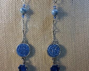 Drops of blue dangle earrings