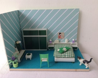 Dollhouse miniature furniture scale 1:16 ,design, Handmade,seventies, vintage Roombox,Diorama
