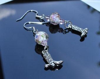 Rose beaded boot dangle earrings