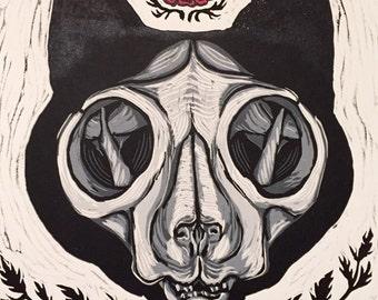 Cat Skull - linocut print