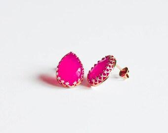 Pink Stud Earrings, Natural Chalcedony, Teardrop Shape