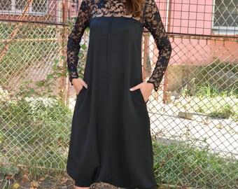 Plus Size Maxi Jumpsuit, Oversize Drop Crotch Harem Jumpsuit, Extravagant Party Loose Jumpsuit, Black Romper with Lace, Danellys D16.02.09