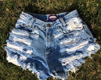 Vintage High Waist Distressed Denim Shorts