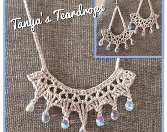 """Earrings & Necklace """"Tanya's Tears"""" PATTERN- Instant download - Crochet PATTERN (pdf file)"""